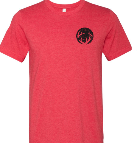 Heather Red tee with black left chest imprint of circle antler logo and black imprint of CRUSH across back shoulders tee
