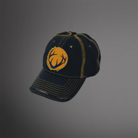 Navy distressed cap with Gold Frayed Antler Patch and stitching accents