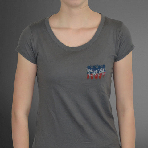 Women's Frayed Edge Freedom of the Hunt Gray Fitted tee