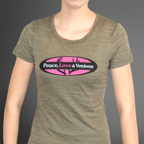 Peace Love Venison olive burnout tee