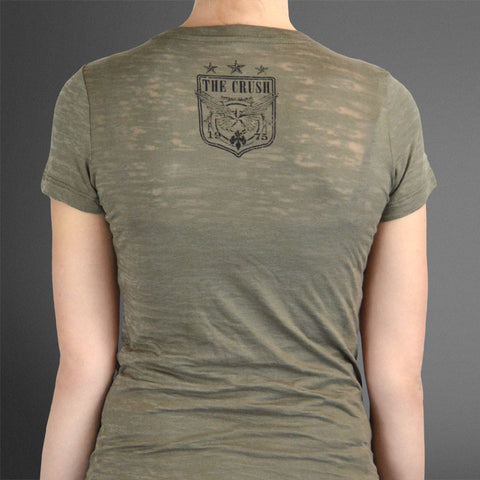 Women's Peace Love & Venison olive burnout/pink oval tee.