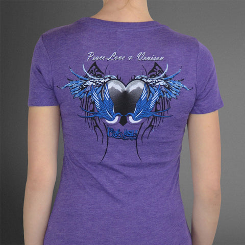Women's Crush Birds Purple Fitted Tee