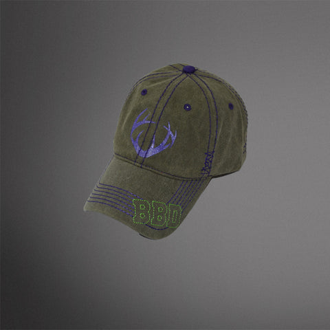 Ladies Faded Army Green cap with purple glitter antler logo and lime green BBD