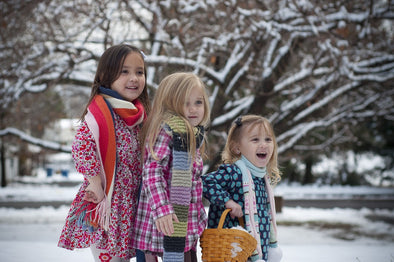 Three girls enjoying winter