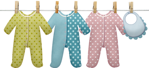 Clothing line with three sleepers and a bib drying
