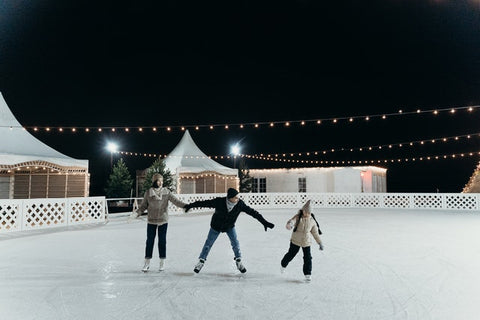 A family doing ice skating