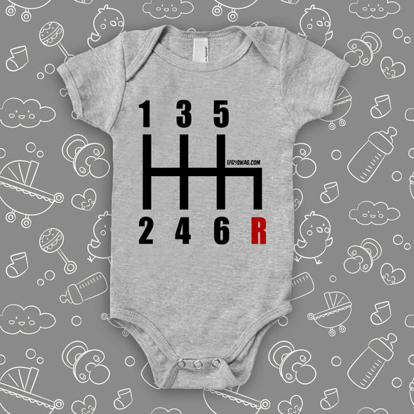 "The ""6 Gearshirt Race Car"" graphich baby onesies in grey."