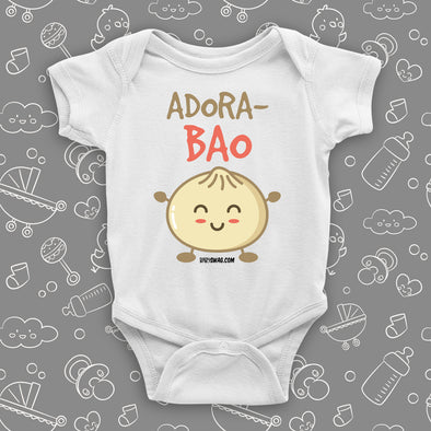 "Cute baby onesies wuth saying ""Adora-Bao"" in white."