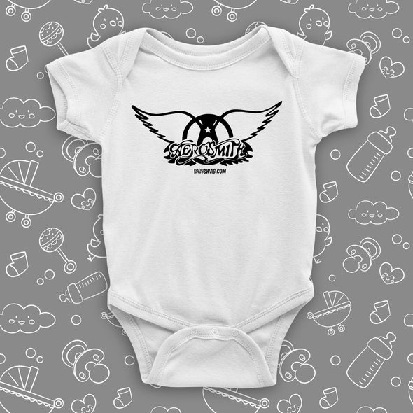 The ''Aerosmith'' graphic baby onesies in white.