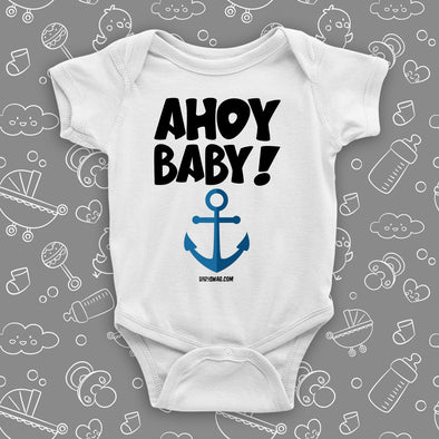 "The ""Ahoy Baby!"" cute baby onesies in white."