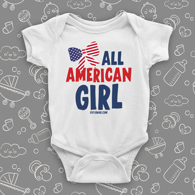 The ''All American Girl'' cute baby girl onesie sayings in white