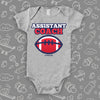 "Cool baby boy onesie saying ""Assistant coach"", in grey."