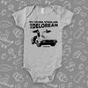 The ''My Other Stroller Is A Delorean'' cool baby onesies in grey.
