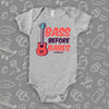 "Cute baby boy onesies with saying ""Bass Before Babes"" in grey."