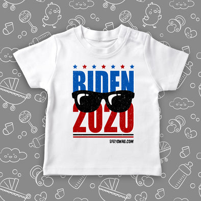 "Toddler graphic tees with caption ""Biden 2020"" in white."