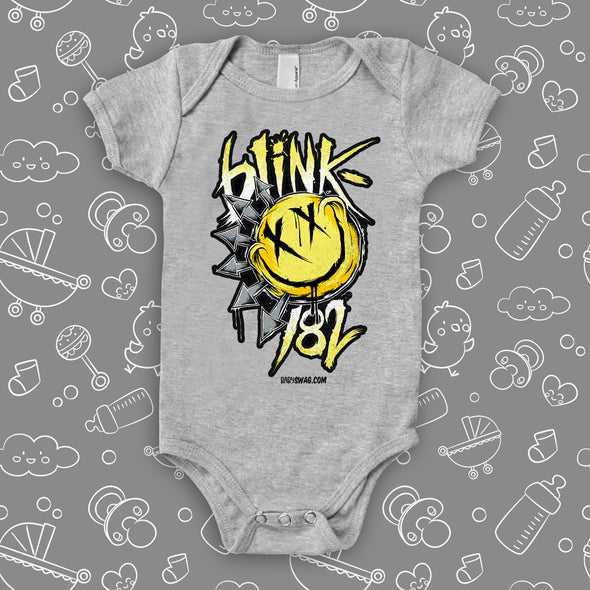 "The ""Blink 182"" graphic baby onesies in grey."