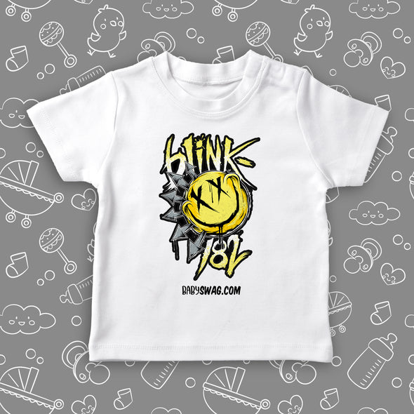 "Toddler boy graphic tee with the caption ""Blink 182"" in white."