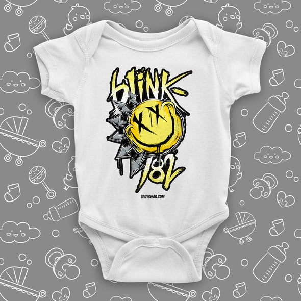 "The ""Blink 182"" graphic baby onesies in white."