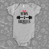 The ''Bows & Barbells'' cute baby girl onesie in gray
