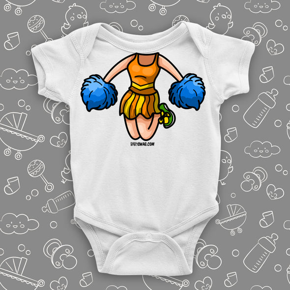 White hilarious baby onesie with cheerleader bobblehead image.