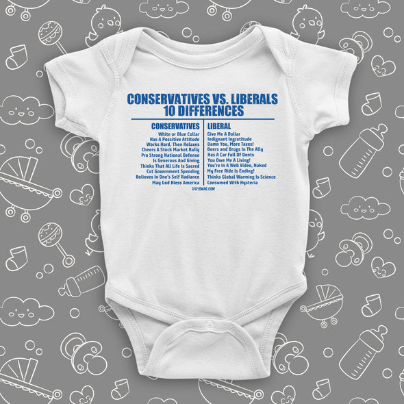 "White baby onesie saying ""Conservatives vs. Liberals 10 differences"" with a list of them."