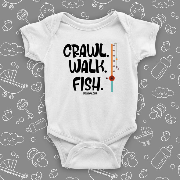 The ''Crawl. Walk. Fish'' unique baby onesies in white.