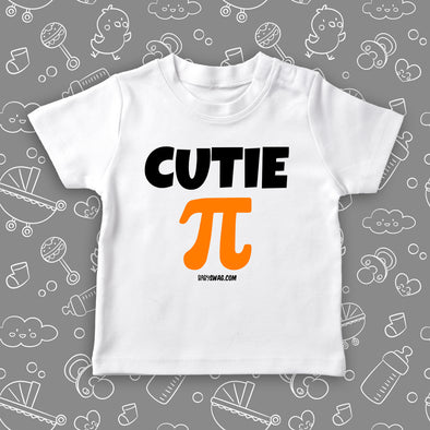 "Toddler graphic tees with saying ""Cutie Pie"" in white."