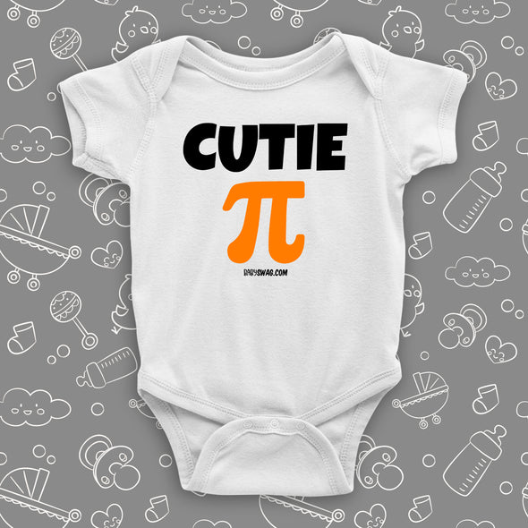 "The ""Cutie Pie"" graphic baby onesies in white."