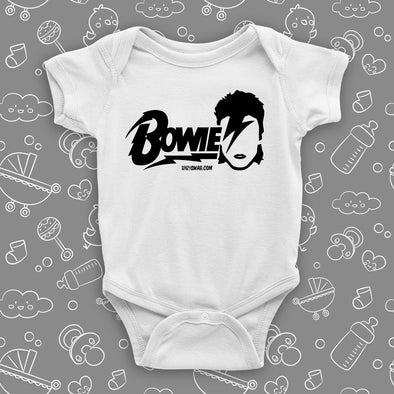 "The ""David Bowie"" cool baby onesies in white."