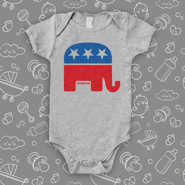 Grey cute baby onesie with an image of the republican elephant.