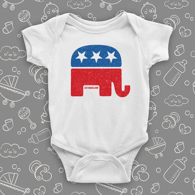 White cute baby onesie with an image of the republican elephant.