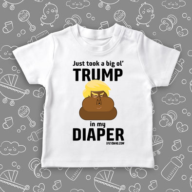 "Funny toddler shirt with the caption ""Dump Trump"" in white."