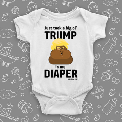 The ''Dump Trump'' funny baby onesies in white.