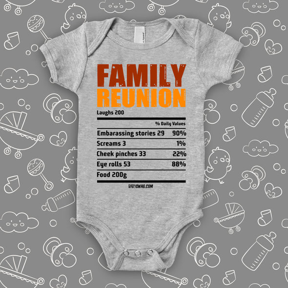 "The ""Family Reunion"" cute baby onesies in grey."