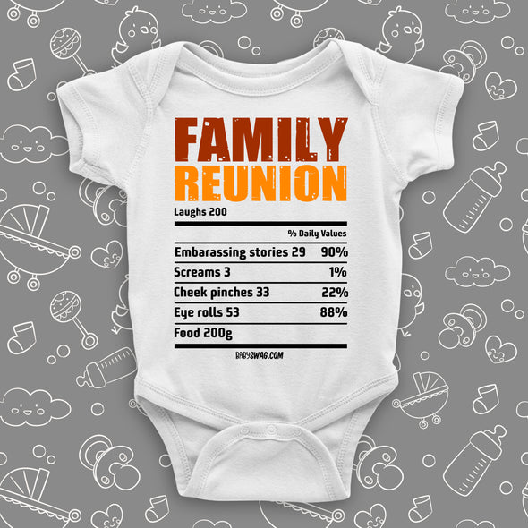 "The ""Family Reunion"" cute baby onesies in white."