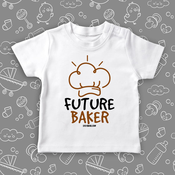 "White toddler shirt with ""Future baker"" print and a drawing of baker's hat."