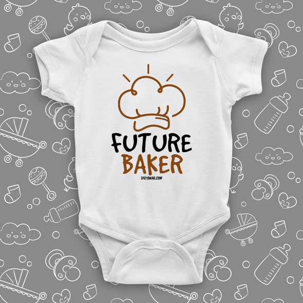 "Cool baby onesie with ""Future chef"" print in white."