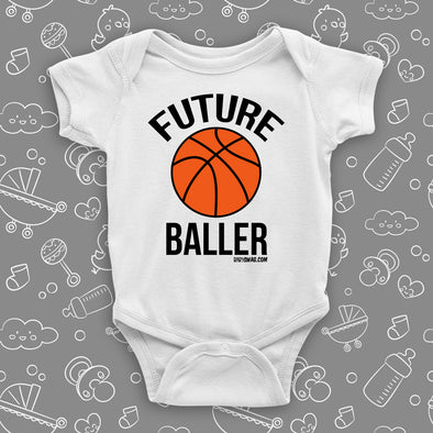 "The ""Future Baller"" cool baby onesies in white."