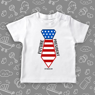 "Toddler graphic tees with saying ""Future President"" in white."