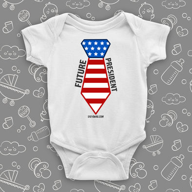 The ''Future President'' cool baby onesies in white.