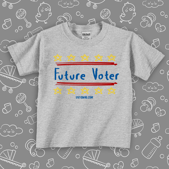 "The ""Future Voter"" toddler graphic tees in grey."