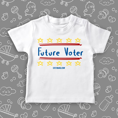 "The ""Future Voter"" toddler graphic tees in white."