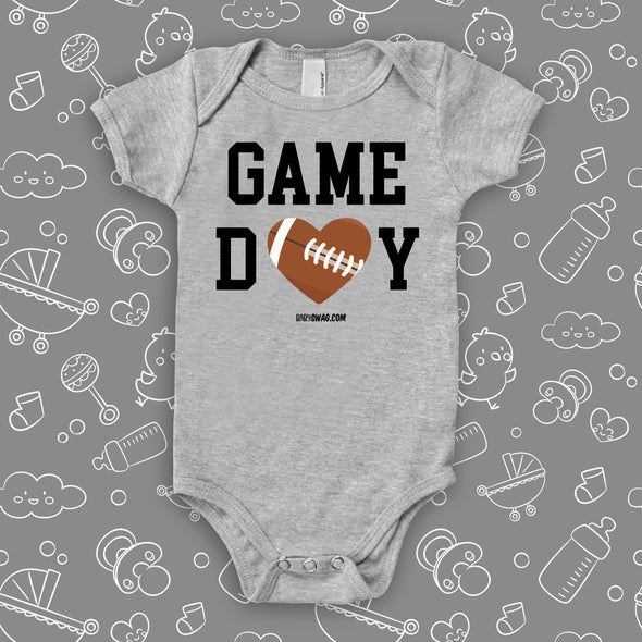 "The ""Game Day"" cool baby onesies in grey."
