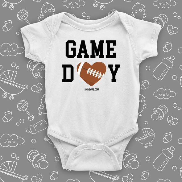 "The ""Game Day"" cool baby onesies in white."