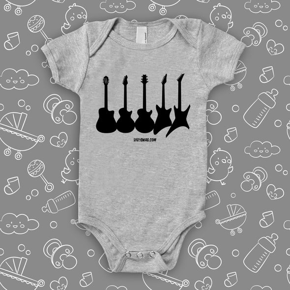 "Rock N Roll onesies with saying ""Guitar Collections"" in grey."