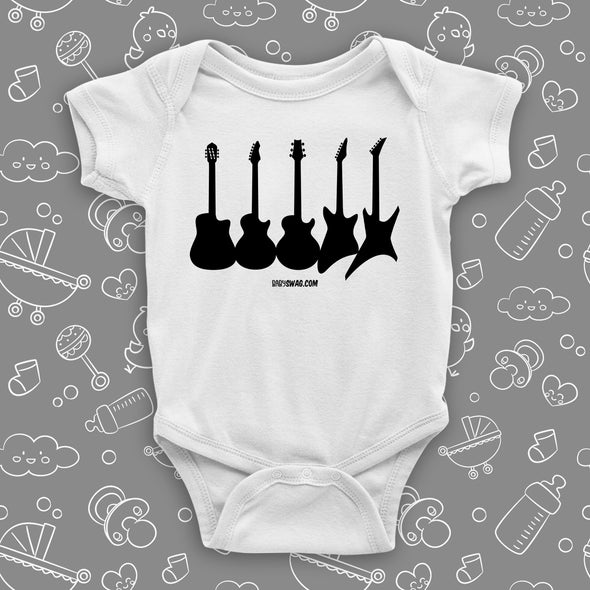 "Rock N Roll onesie with saying ""Guitar Collections"" in white."