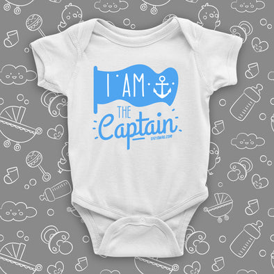 The ''I Am The Captain'' badass baby clothes in white.