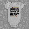 "Unique baby onesies with saying ""I Hooked Daddy's Heart"" in grey."