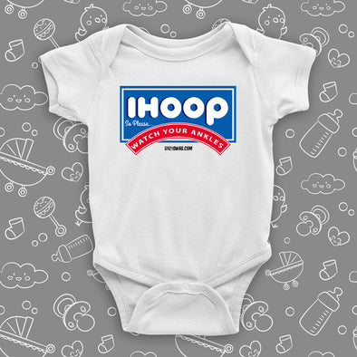 "Funny baby boy onesies with saying ""I Hoop So Please Watch Your Ankle"" in white."
