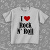 "Toddler shirts with saying ""I Love Rock And Roll"" in grey."